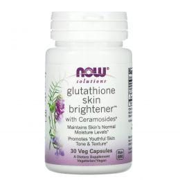 Now Foods, Solutions, осветляющее средство для кожи с глутатионом, 30 вегетарианских капсул