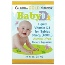 California Gold Nutrition, Витамин D3, детские капли, 10 мкг (400 МЕ), 0,34 ж.унц. (10 мл)