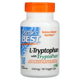Doctor's Best, Лучший L-триптофан, 500 мг, 90 растительных капсул