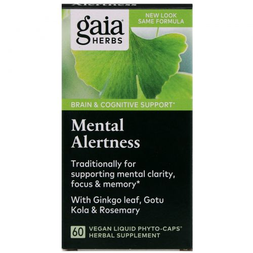 Gaia Herbs, DailyWellness, живость ума, 60 вегетарианских капсул