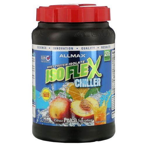 ALLMAX Nutrition, Isoflex Chiller, сверхчистый 100%-ный изолят сывороточного протеина (фильтрация ИСП частицами, заряженными ионами), цитрусово-персиковое ощущение, 2 фунта (907 г)