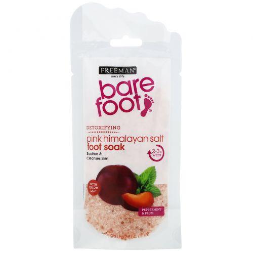 Freeman Beauty, Bare Foot, детоксикация, розовая гималайская соль для ножных ванночек, перечная мята и слива, 71г (2,5г)