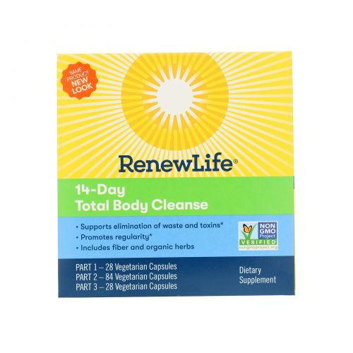 Renew Life, Gentle Care, Total Body Cleanse, 14-Day Program, 3-Part Program