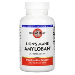 Mushroom Wisdom, Amyloban 3399, 180 растительных таблеток