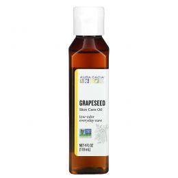 Aura Cacia, Масло для естественного ухода за кожей, из виноградных косточек, 4 жидких унции (118 мл)
