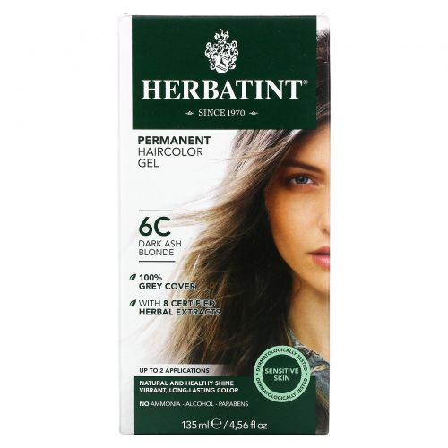 Herbatint, Permanent Haircolor Gel, 6C, Dark Ash Blonde, 4.56 fl oz (135 ml)