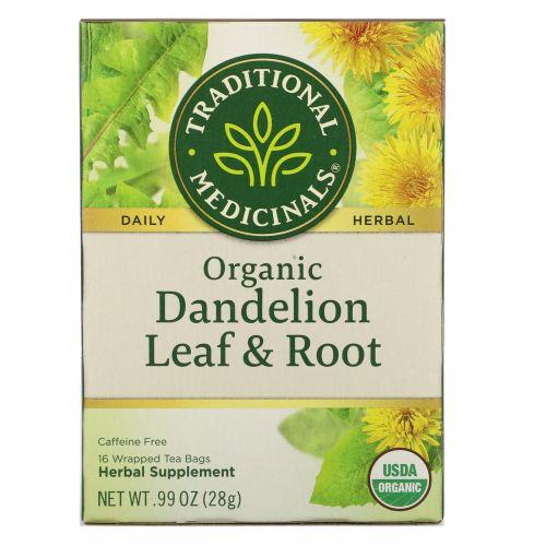 Traditional Medicinals, Органический чай Dandelion Leaf & Root без кофеина, 16 пакетиков, .99 унц. (28 г)