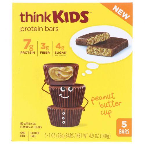 ThinkThin, ThinkKids, протеиновые батончики с арахисовым маслом, 5 штук, 1 унция (28 г) каждая