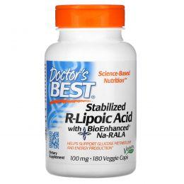 Doctor's Best, Стабилизирующая R-липоевая кислота, 100 мг, 180 капсул