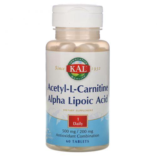 KAL, Acetyl-L-Carnitine & Alpha Lipoic Acid, 500 mg / 200 mg, 60 Tablets