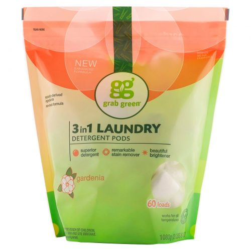 Grab Green, 3-in-1 Laundry Detergent Pods, Gardenia, 60 Loads,2lbs, 6oz (1,080 g)
