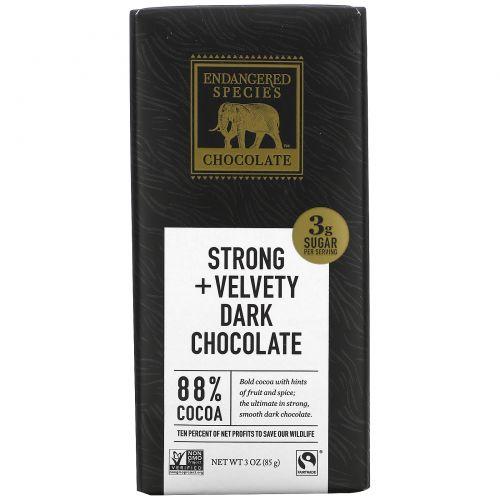 Endangered Species Chocolate, Натуральный темный шоколад с 88% какао, 3 унц. (85 г)