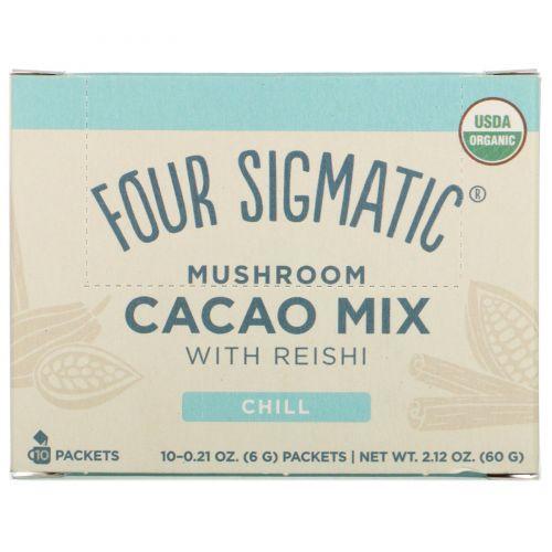 Four Sigmatic, XOCO Blue, какао-напиток с грибами рейши, сладкая корица, 10 пакетиков, 0,2 унции (6 г) каждый