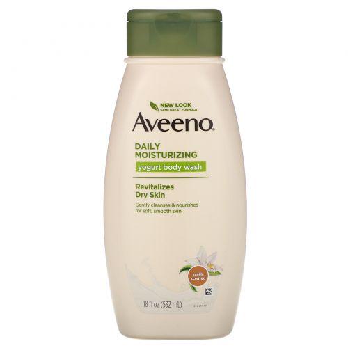 """Aveeno, """"Природные активные компоненты"""", увлажняющий гель для душа с йогуртом для ежедневного использования, ванильно-овсяный, 18 жидких унций (532 мл)"""