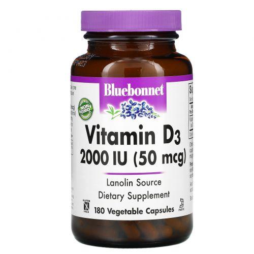 Bluebonnet Nutrition, Витамин D3, 2000 МЕ, 180 капсул в растительной оболочке