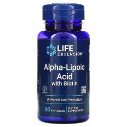 Life Extension, Супер альфа-липоевая кислота, с биотином, 250 мг, 60 капсул