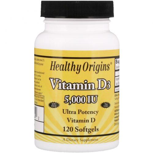 Healthy Origins, Витамин D3, 5 000 МЕ, 120 желатиновых капсул