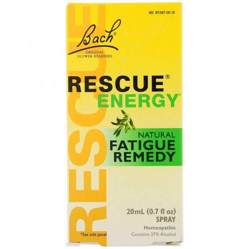 Bach, Оригинальные цветочные лекарства, Rescue Energy, натуральное средство для борьбы с усталостью, 0,7 жидкой унции (20 мл)