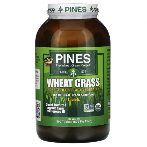 Pines International, Pines, ростки пшеницы, 500 мг, 1400 таблеток