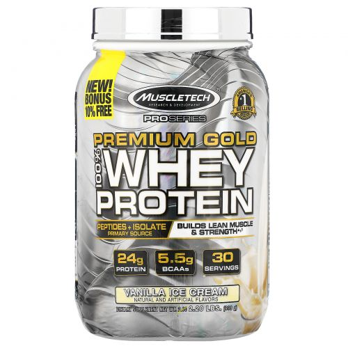Muscletech, ProSeries, Premium Gold 100% Whey Protein, Vanilla Ice Cream, 2.20 lbs (998 g)