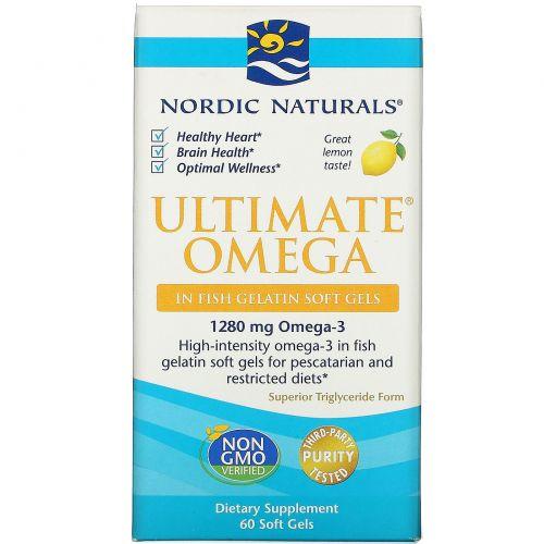 Nordic Naturals, Ultimate Omega, превосходный лимонный вкус, 1000 мг, 60 шт.