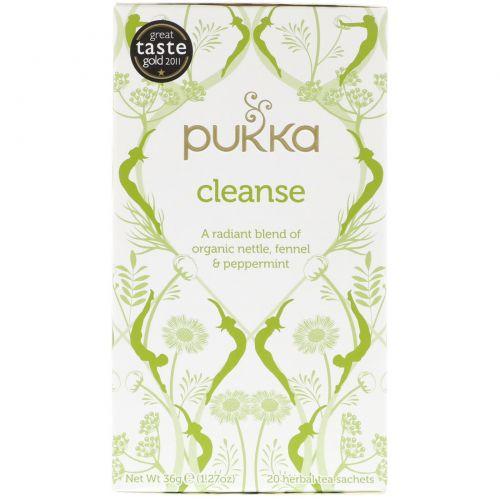 Pukka Herbs, Pukka Herbs, очищение, органический чай из крапивы, фенхеля и перечной мяты, без кофеина, 20 пакетиков травяного чая, 1,27 унции (36 г)
