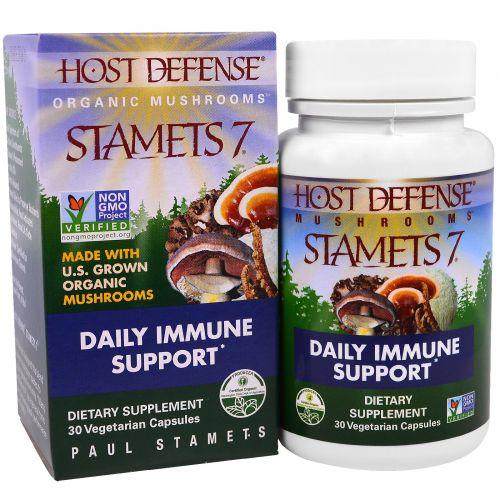 """Fungi Perfecti, """"Стаметс 7 для защиты организма"""" из серии """"Органические грибы для защиты организма"""", органический грибной препарат для ежедневного поддержания иммунитета, 30 капсул в растительной оболочке"""
