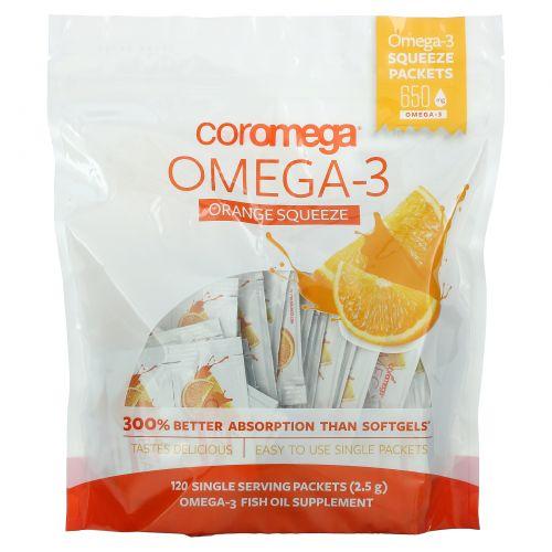Coromega, Омега-3, свежевыжатый апельсиновый сок, 120 упаковок с одной порцией (по 2,5 г)