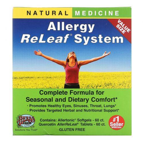 Herbs Etc., Противоаллергенная система ReLeaf  в таблетках, 2 бутылки, 60 гелевых капсул/таблеток
