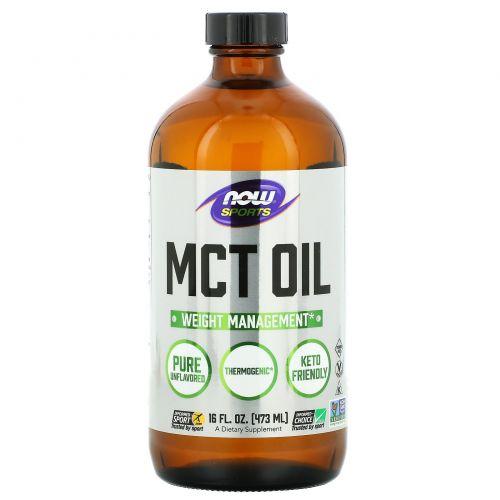 Now Foods, Спортивное питание, чистое триглицеридное масло с цепочками средней длины, 16 жидких унций (473 мл)