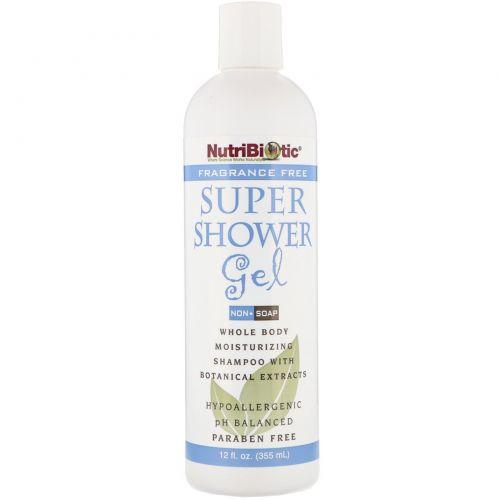 """NutriBiotic, """"Супер-гель для душа"""", гель для душа без ароматизаторов, не содержит мыла, 12 жидких унций (355 мл)"""