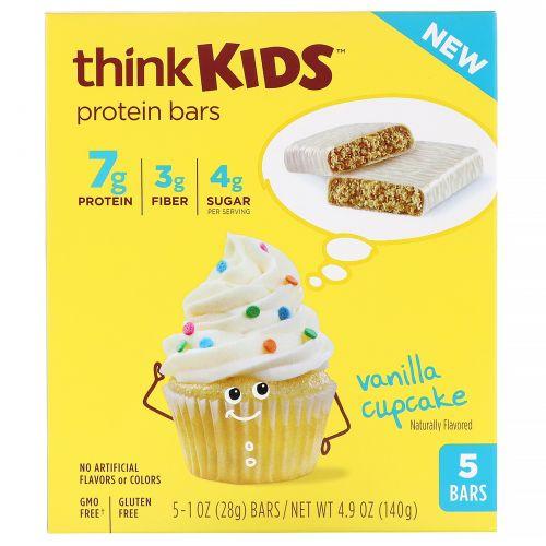 ThinkThin, ThinkKids, протеиновые батончики, ванильный кекс, 5штук по 28г (1унции) каждый