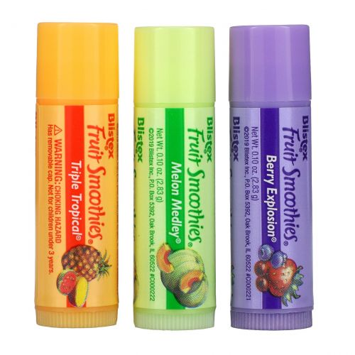 Blistex, Фруктовые коктейли, защищает губы/солнцезащитный , SPF 15, 3 палочки, .10 унций (2.83 г) шт.