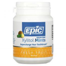 Epic Dental, Подслащенные 100%-ным ксилитом мятные таблетки со вкусом свежих фруктами, 180 шт.