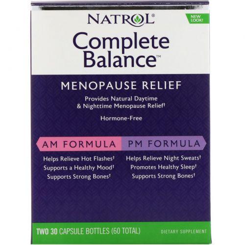 Natrol, Complete Balance для менопаузы, для применения утром и вечером, две бутылочки, в каждой по 30 капсул