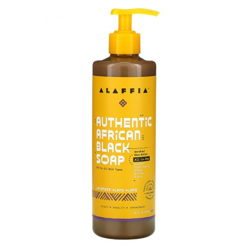 Alaffia, Authentic African Black Soap, Lavender Ylany Ylang, 16 fl oz (475 ml)