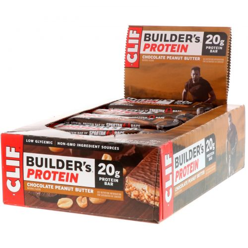 Clif Bar, Builder's Bar, Peanut Butter Cocoa Dipped Double Decker Crisp, 12 Bars, 2.4 oz (68 g) Each