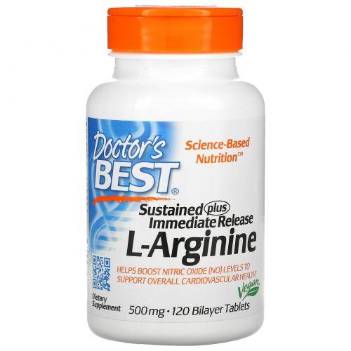 Doctor's Best, L-аргинин с длительным высвобождением и немедленным высвобождением, 500 мг, 120 таблеток с двойным слоем