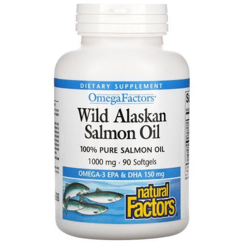 Natural Factors, Wild Alaskan Salmon Oil, 1000 mg, 90 Softgels