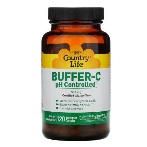 Country Life, Буферизованный витамин C, с контролем pH, 500 мг, 120 капсул на растительной основе