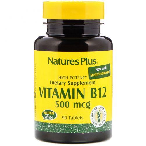 Nature's Plus, Витамин B-12, 500 мкг, 90 таблеток