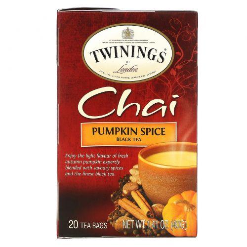 Twinings, Чай со специями, Пикантная тыква, 20 чайных пакетиков, 1,41 унции (40 г)