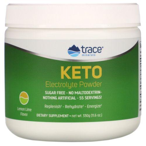 Trace Minerals Research, Keto Electrolyte Powder, Sugar Free, Lemon Lime Flavor, 11.6 oz (330 g)