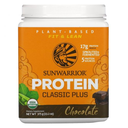 Sunwarrior, Organic, Classic Plus, Chocolate, 13.2 oz (375 g)