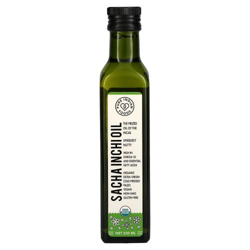 Pure Indian Foods, Organic Sacha Inchi Oil, Cold Pressed, Virgin, 250 ml