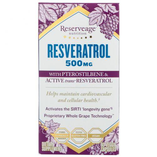 ReserveAge Nutrition, Resveratrol with Pterostilbene & Active Trans-Resveratrol, 500 mg, 60 Veggie Capsules