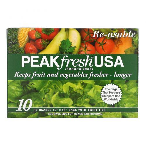 PEAKfresh USA, Многоразовые пакеты для хранения продуктов, 10 - 12 x 16 дюймов, с проволочным креплением