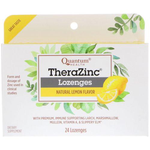 Quantum Health, Леденцы Тера Цинк, холодный сезон +, лимон, 24 леденца