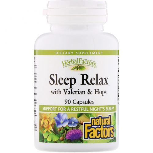 Natural Factors, Успокоение перед сном, с валерьяной и хмелем, 90 капсул