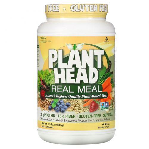 Genceutic Naturals, Plant Head, дополнительный источник растительного белка, клетчатки и аминокислот,шоколадный вкус, 2.3 фунта (1050 г)